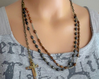 Recycle rosary chain necklace - Crucifix / Cross - Multi strand religious necklace - One of a Kind  bycat