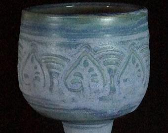 Blue Medieval Spade Goblet Handmade Pottery