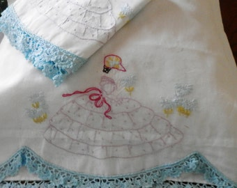 Plum Delight Southern Belle Pillowcases, Plum and Violet Embroidery, Sky Blue Crocheted Edging