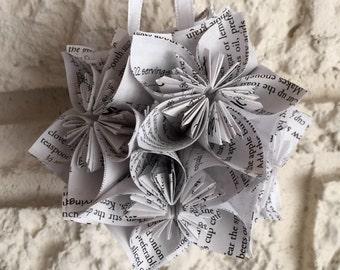 Vintage Cook Book Small Paper Flower Pomander Ornament