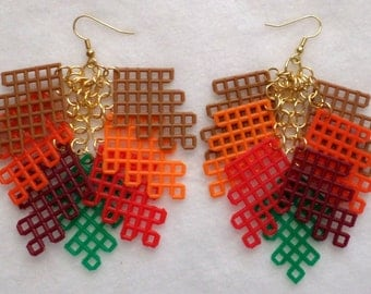 Plastic Canvas Earrings - Fall Leaves