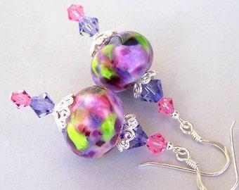 Purple and pink earrings, purple lampwork earrings, artisan lampwork and Swarovski crystal tanzanite and rose earrings