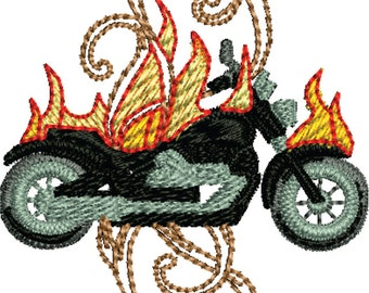 Motorcycle flames machine embroidery design