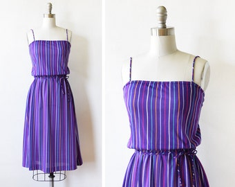 80s striped sundress, vintage 80s purple dress, rainbow striped dress, l/xl