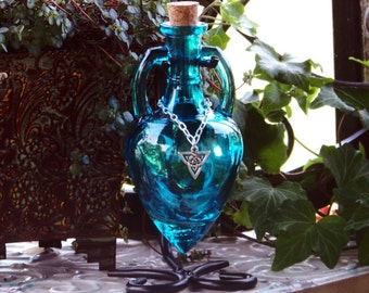 "CELTIC WITCH ""Artisan Alchemist""™ Triquetra Priestess of Avalon Aqua Blue Amphora Magic Potion Bottle, Corked Glass Vessel w/ Metal Stand"
