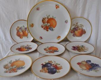The Orchard Vintage Fruit Plates/Eight Porcelain Fruit Plates With Serving Platter/Nine Pieces Total
