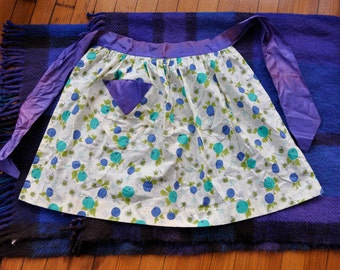 Big Blueberry Print Hostess Apron/Vintage 1940s 1950s/Dressy Cotton and Taffeta Half Apron/Purple Teal Green Berry Print