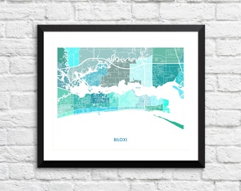 Biloxi Map Print.  Choose the Colors and Size.  Mississippi Gulf Coast Wall Art.