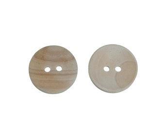 20mm buttons - Unfinished wooden sewing buttons - set of 6  (BB144D)