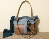 "ooak leather tote – handmade fashion bag - bag with pockets - blue italian cow leather - genuine leather bag ""AZZURO"""