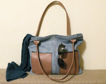 "leather tote – handmade fashion bag - bag with pockets - blue italian cow leather - genuine leather bag ""AZZURA"""
