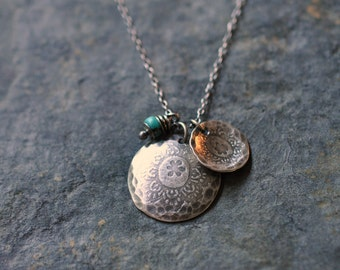 Sterling Turquoise Floral Charm Necklace, Oxidised, Sterling Silver Gemstone Charm Necklace - Gypsy Rose Medalions