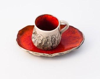 Red Handmade Espresso Cup, Cup with saucer, Wheel thrown cup, Ceramic mug, Macchiato Cup, Arabic Mini coffee cup, Birthday wedding gift