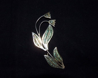 Large Sterling Silver MEXICAN Flower Inlay Abalone Brooch