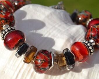 EDGY-Handmade Lampwork and Sterling Silver Bracelet