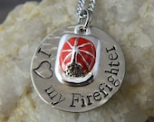 I Love My Firefighter with Firefighter Hat Necklace