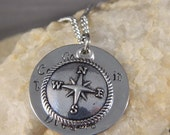 Go Confidently in the Direction of your Dreams with Compass Handstamped Necklace