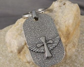 Cross with Wings Dogtag Keychain