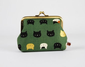 Metal frame change purse - Neko cats in deep green - Deep dad / Kawaii japanese fabric / Moss green metallic gold caramel brown white black
