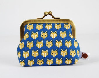 Frame coin purse - Chibi foxes on blue - Deep mum / cobalt mustard yellow ochre brown / Kawaii japanese fabric / Cute foxes faces