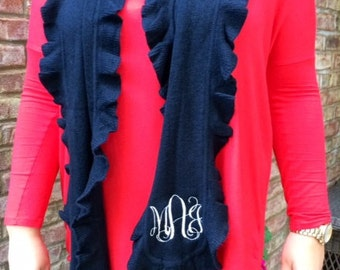 Monogrammed Ruffle Scarf