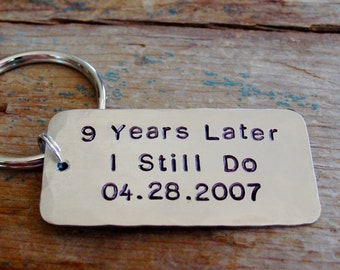 Anniversary Gift, I Still Do Keychain, Personalized Date, Hand Stamped, Husband Gift, Wife Gift, Customized, Wedding Date, Silver Gift