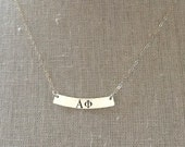 Alpha Phi Necklace - Alpha Phi Curved Bar Necklace Sterling Silver Sorority Jewelry Gold Sorority Jewelry Greek Jewelry Big Sis Little Sis