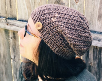 Slouchy hat taupe light brown fall accessories ladies beanie handmade wooden button accent