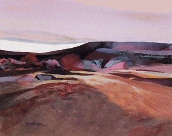Desert landscape, Contemporary Desert Scene, Watermedia Painting, Abstract Desert Art, Desert Art Print, Desert Scenery, Modern Art,  8 x10