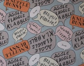 SALE Knuffle Bunny Organic Cotton Fabric from Mo Willems for Cloud 9 Fabrics sold in 1/2 yard increments