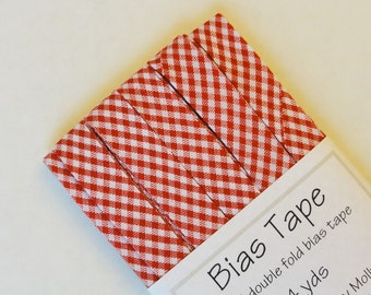 "Bias Tape - 4 yds 0f 1/2"" Double Fold - Red Micro Gingham Plaid"