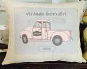 Vintage Farm Girl Pink Vintage Chevy Pickup Truck Farmhouse Pillow, Farmhouse Throw Pillow Cover, Cottage Style Pillow