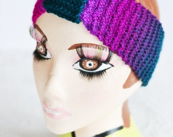 ON SALE 1T - Adult Turban Style Chunky Knit Cable Headband, Wide Headband, Earwarmer
