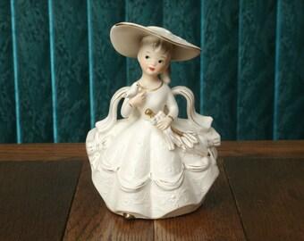 """Vintage Reuben's """"Southern Belle"""" Porcelain Figurine Planter"""