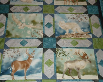 Serene and Snowy Forest Animals Quilt Top