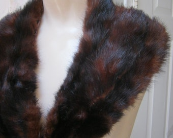 Vintage rich auburn brown mink collar, detachable mink collar, dark auburn brown black genuine mink collar