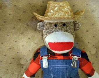 Sock Monkey Doll Hand Made Rockford Red Heel Overalls Boy (or Girl) Corn Cob Pipe Will Personalize Free