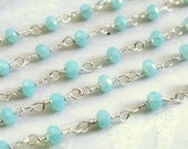 Shop Sale...Aqua Chalcedony Rosary Chain, 925 Sterling Silver Chain, 1 Ft, High Quality 3mm Wire Wrapped Beads, Brides, Wholesale Chain