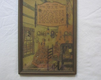 1897 Vintage Print and Frame Dreams in Homespun