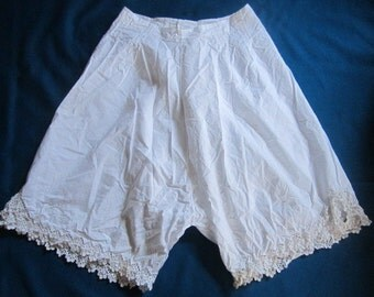 Vintage 1920s/30s White Cotton Bloomers with Elaborate Openwork Trim No.9