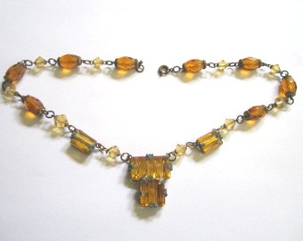Vintage 1920s Art Deco Amber Czech Glass Faceted Beaded Necklace as found