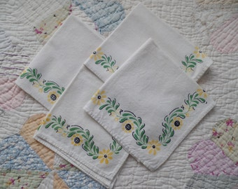 Vintage Floral Cotton Napkins Set of 4
