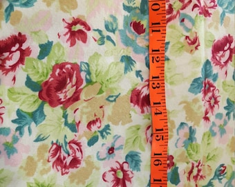 Cotton Flannel Floral predominately greens on creamy background 2-1/2yd
