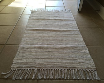 Tan and Cream Handwoven Rag Rug 25 x 46