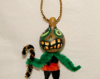 Gourd Ornament OOAK Spooky Haunted Halloween Ornaments  Light Weight (A 40)