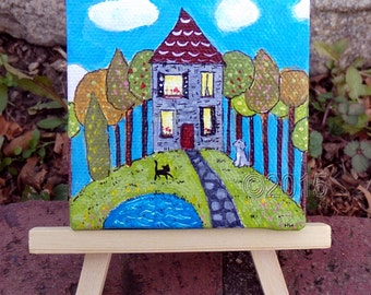 A Lovely House, Original Mini Painting, Home Decor