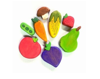Farmers Market Wooden play food set