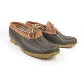 Duck Rubber Boots Shoes Vintage 1990s  LL Bean Leather men's size 9