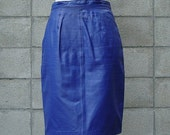 Vintage 1980s Blueberry Leather Pencil Skirt