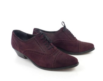 Oxford suede Heels Vintage 1990s Brass Plum Nordstrom Leather Shoes Women's size 39